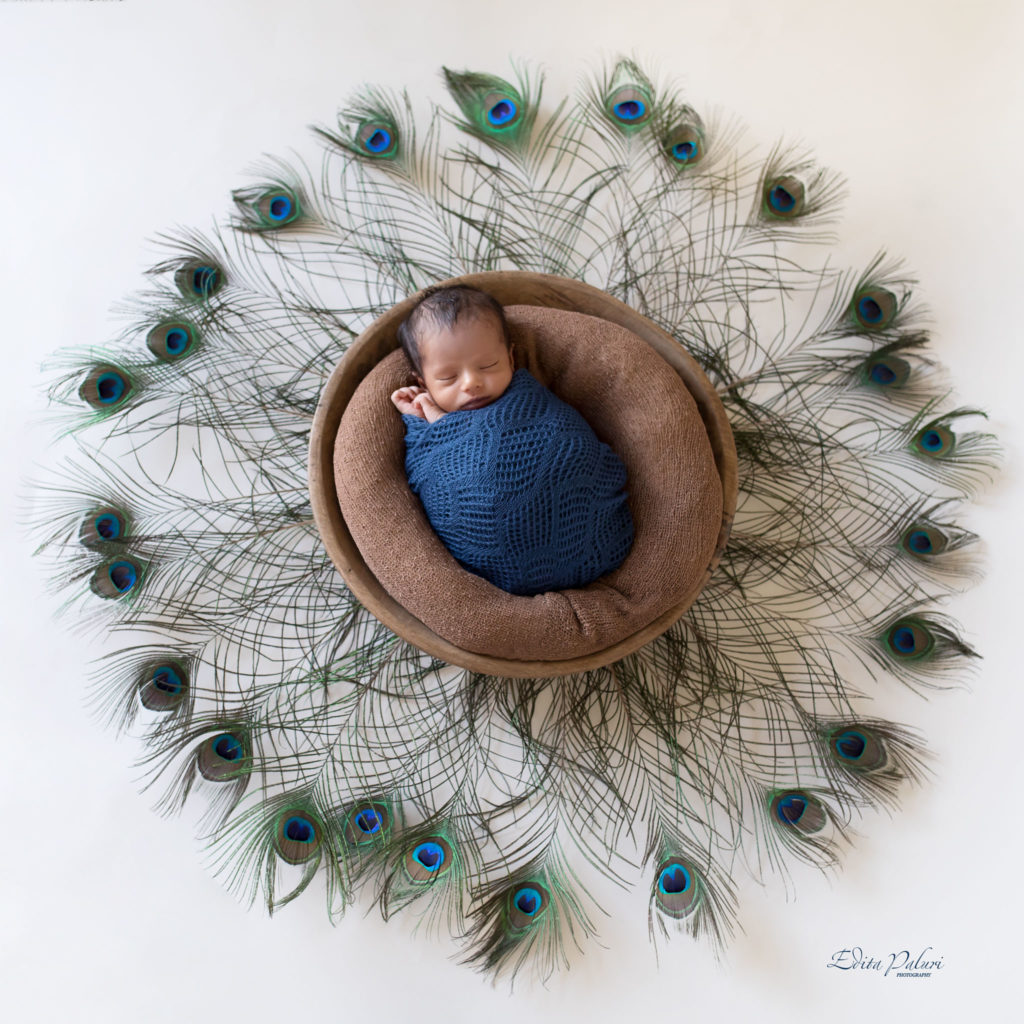 Newborn indian baby in basket surrounded with peacock feathers