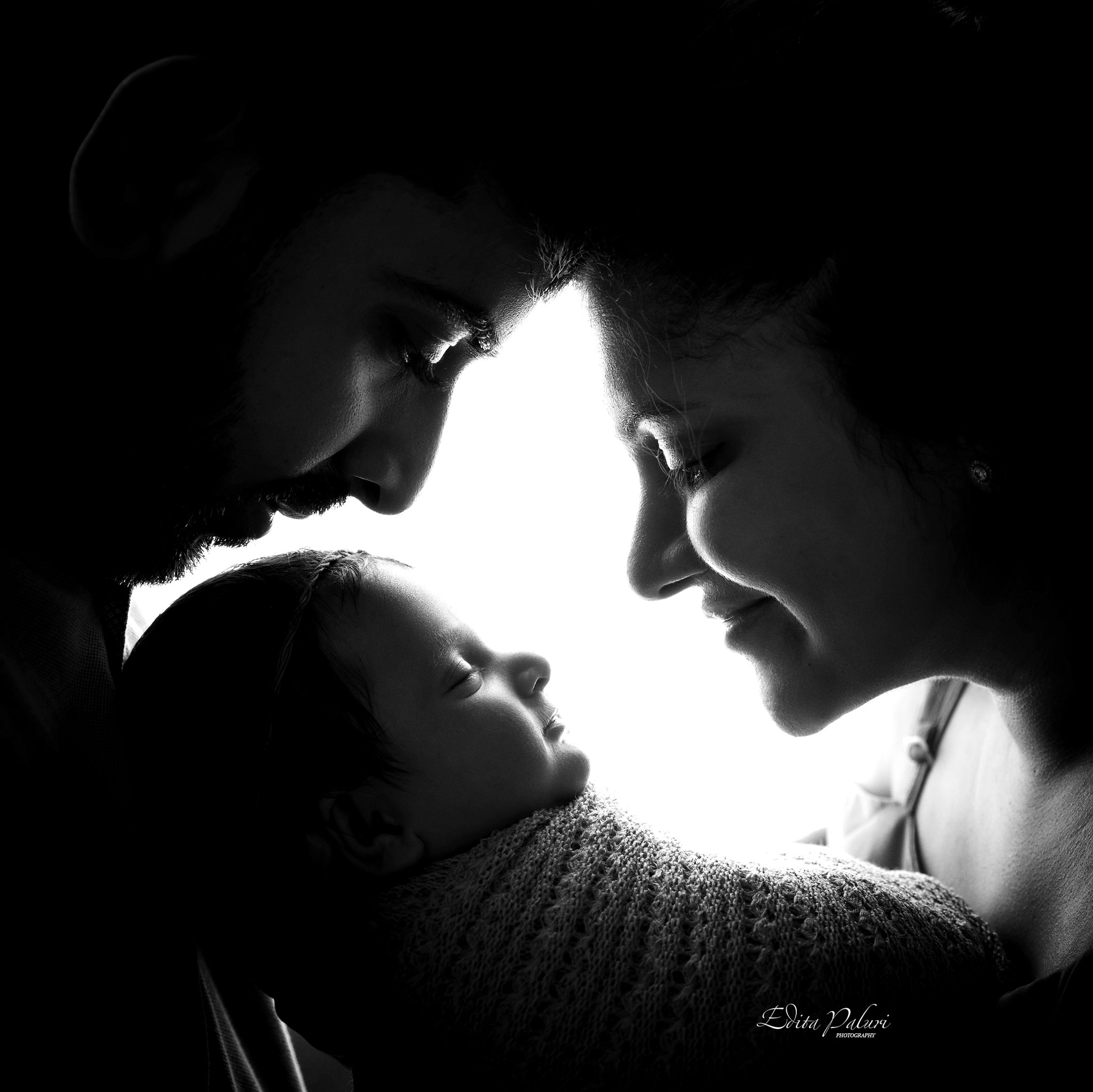 Black and white family silhouette