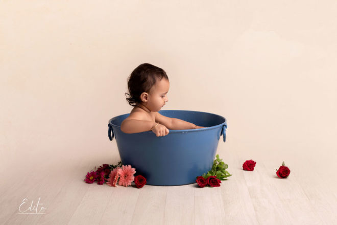 Milk bath toddler girl photography in Pune