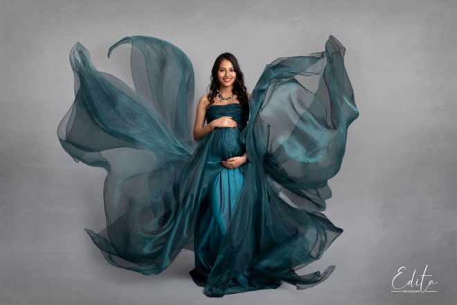 Maternity photo shoot in flying gown at photo studio in Pune