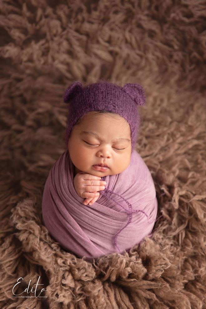 8 days newborn baby girl - Potato sack pose