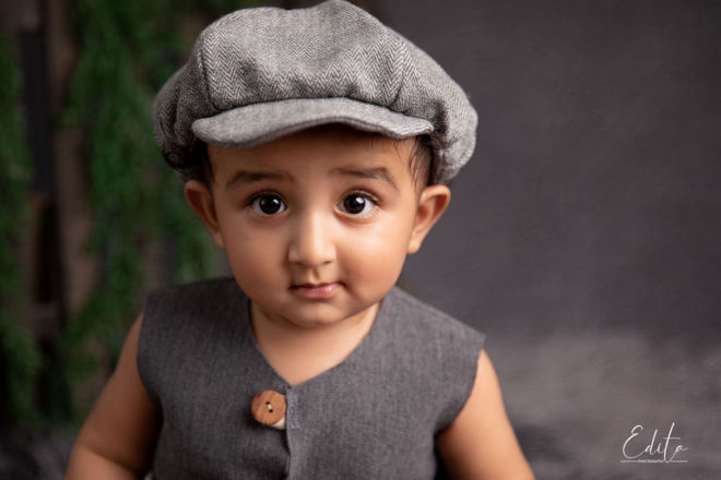 Small gentleman portrait, Baby boy with hat is turning 1