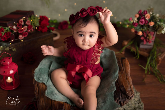 Creative indian baby girl photo shoot ideas in maroon, green and brown