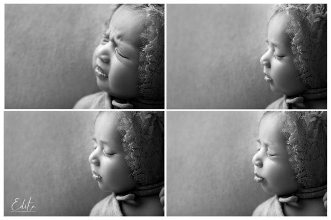 Newborn girl moods collage