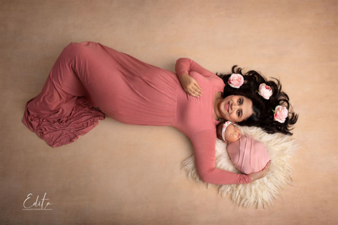 Aerial mother and newborn girl photography in Pune