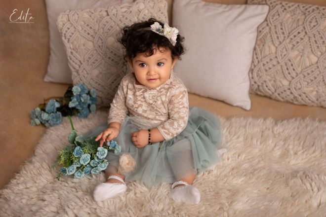 Baby girl wearing Yulia Soloveva collection outfit