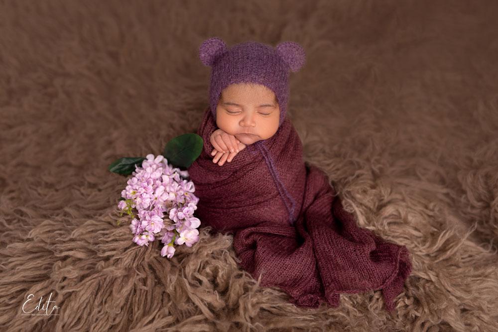 Potato sack baby posing