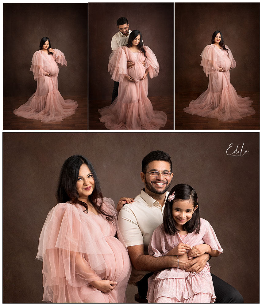 Dusty pink tulle long dress for maternity photo shoot in Edita photography studio in Pune