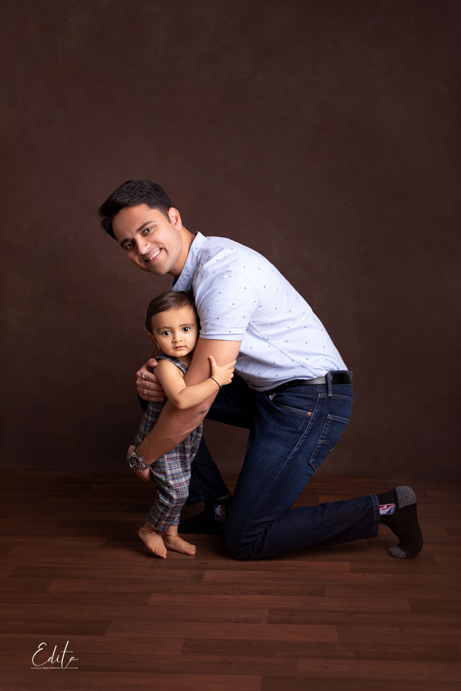 Father and baby boy toddler photo shoot in Pune