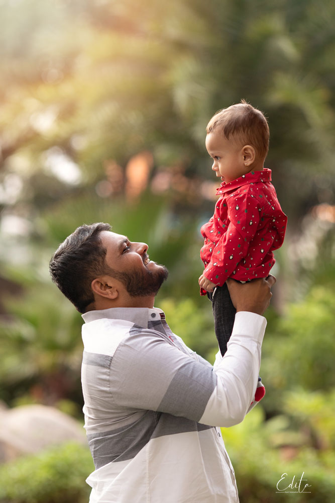 Father and son photo shoot in garden in India