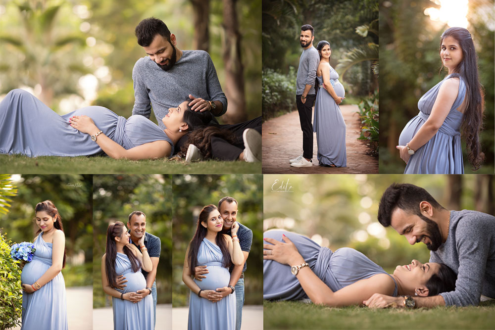 Grey free style maternity gown for pregnancy photoshoot in Pune by Edita Photography