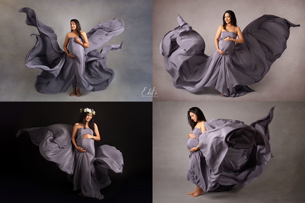 Tossing grey fabric in maternity photoshoot in Pune