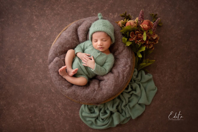 Newborn baby boy photography in Pune green and brown setup