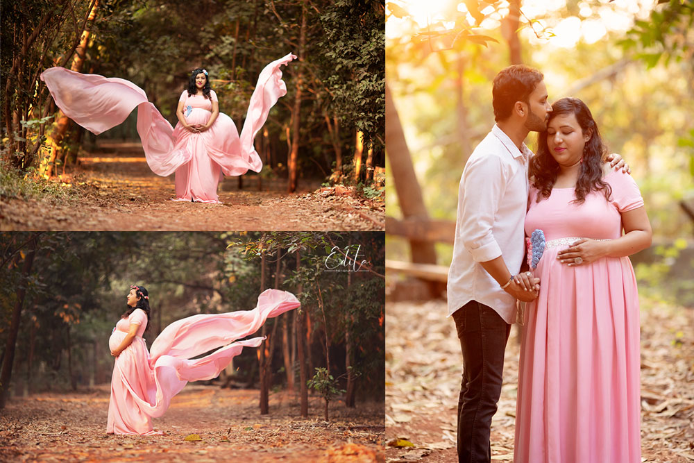 Pink flying maternity outfit for photo shoot in Pune