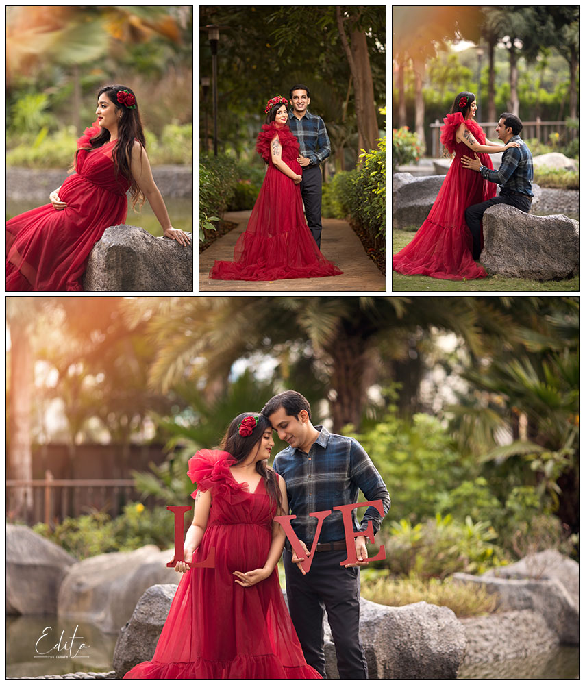 Red long tulle dress gown for maternity photo shoots in Pune by Edita photography
