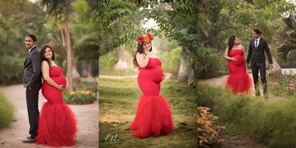 Red mermaid maternity gown for photo shoot in India Pune