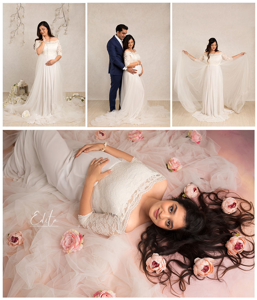 White maternity pregnancy gown dress for photo shoot at Edita photography studio in Pune