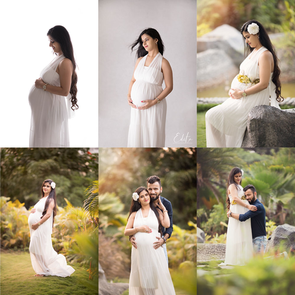 White maternity gown for pregnancy photography in Pune in Edita photography studio