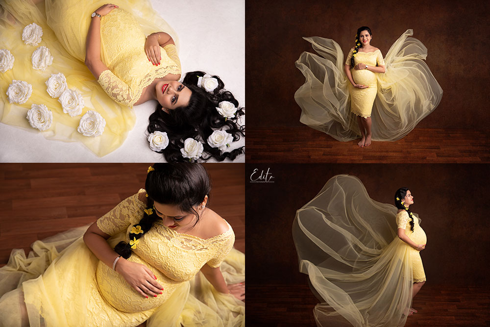 Yellow lace maternity gown to use for pregnancy photo shoots in studio in Pune by Edita Photography