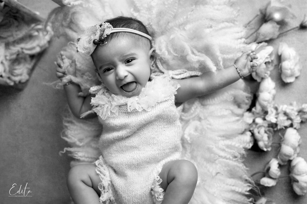 Black and white 3 month baby girl photography