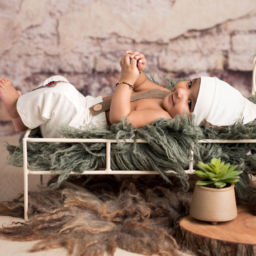4 month baby boy indian in tiny bed in Pune by Edita Photography