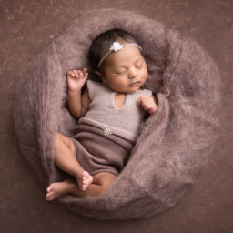 Newborn baby girl in brown wool by Edita photography best photographer in Pune