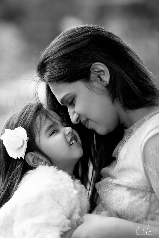 Black and white mom and daughter photo