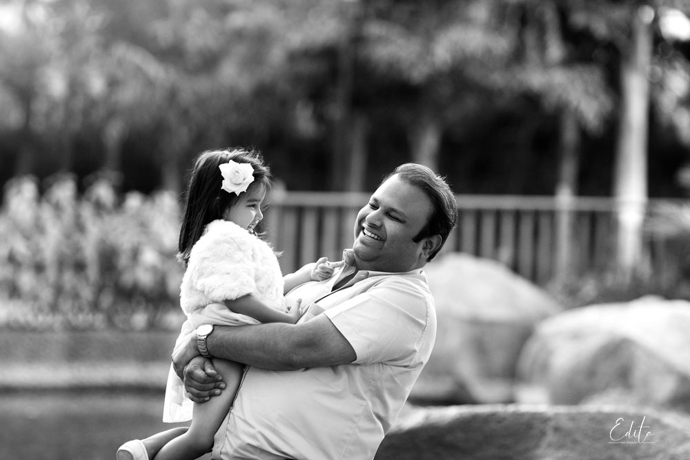 Black and white father and daughter photo