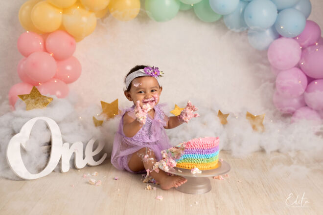 Cake smash baby photo shoot in Pune by Edita Photography