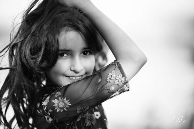 9 year old girl portrait in black and white