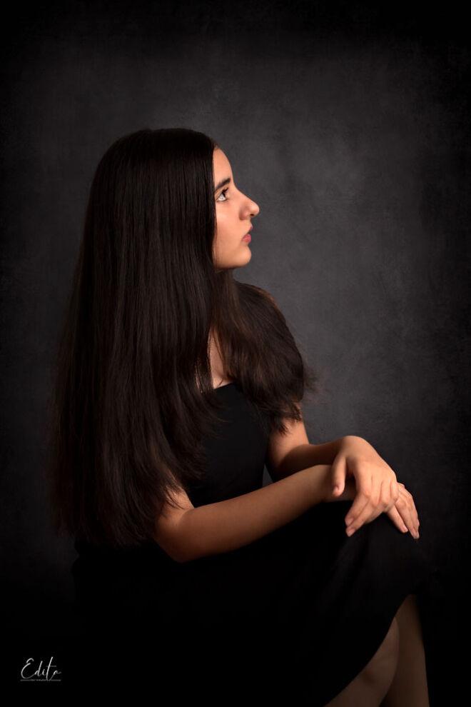 Kids photography in Pune, 12 year girl fine art portrait in black dress