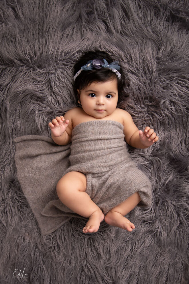 3 month baby girl in grey wrap, baby photoshoot in Pune