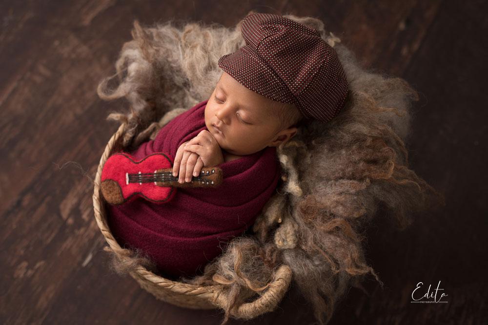 Inspiring baby boys photos in basket with guitar