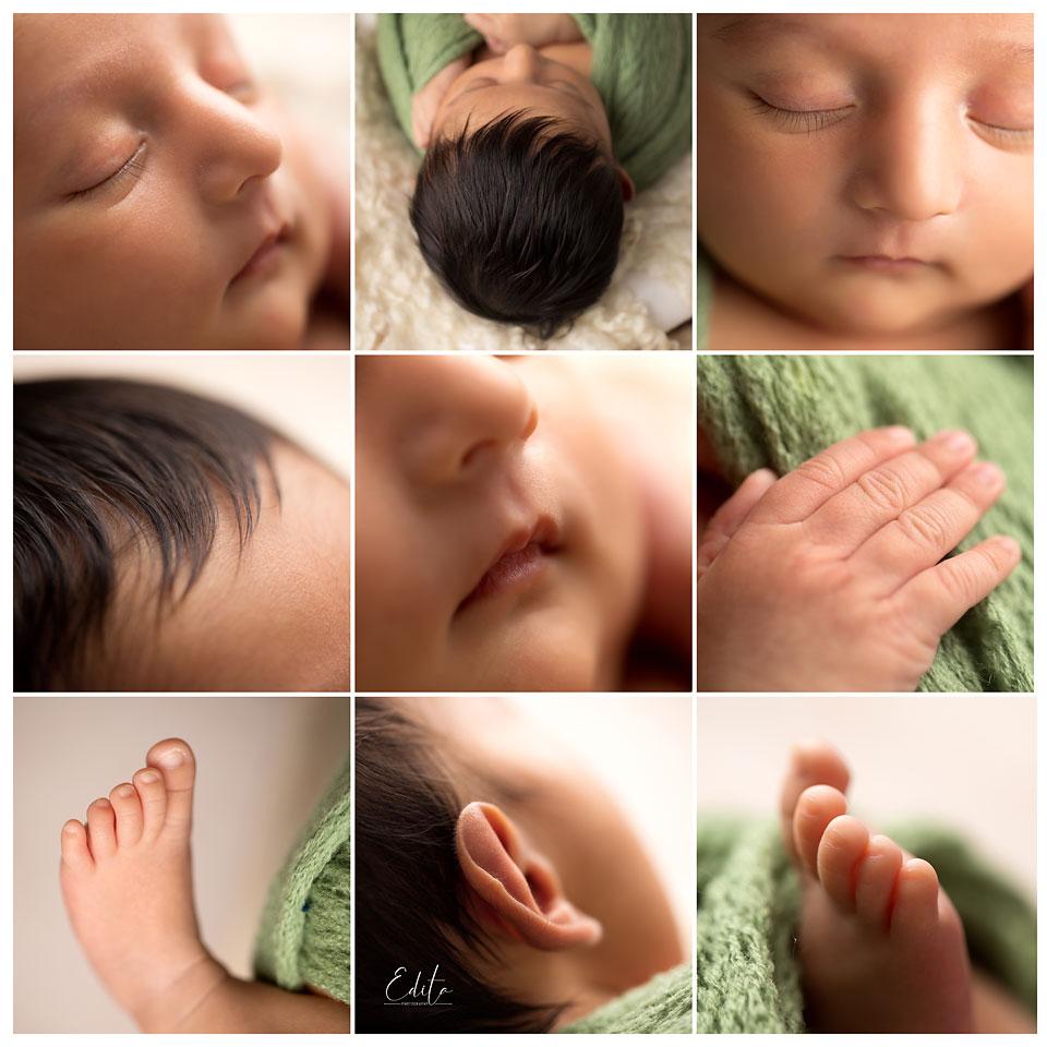 Baby boy close up photos collage