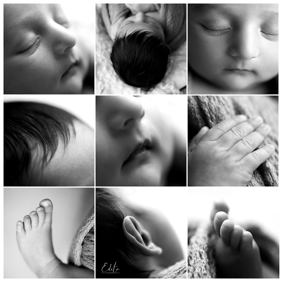 Black and white newborn baby boy macro photos collage