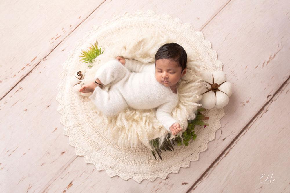 Baby boy in white bowl photoshoot india pune