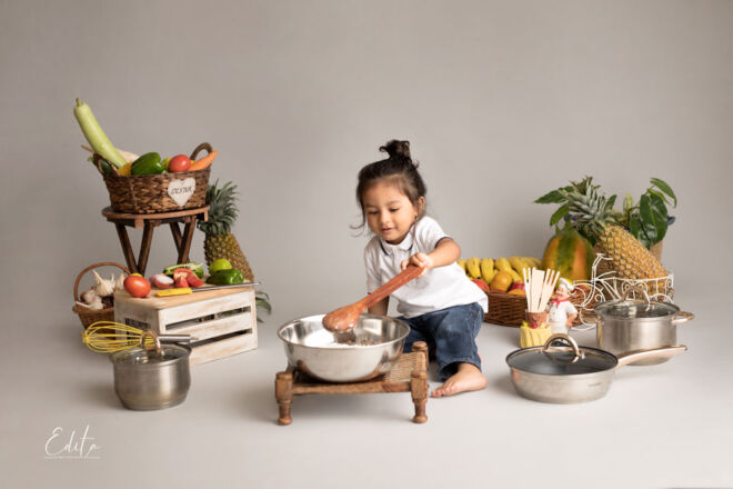 2 year old chef cooking photo shoot in Pune