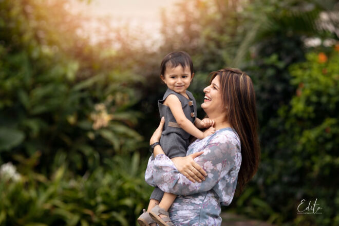 Mom with toddler boy portrait in the garden in Pune