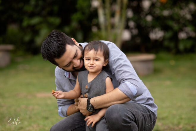 Father and toddler photo in the garden in Pune