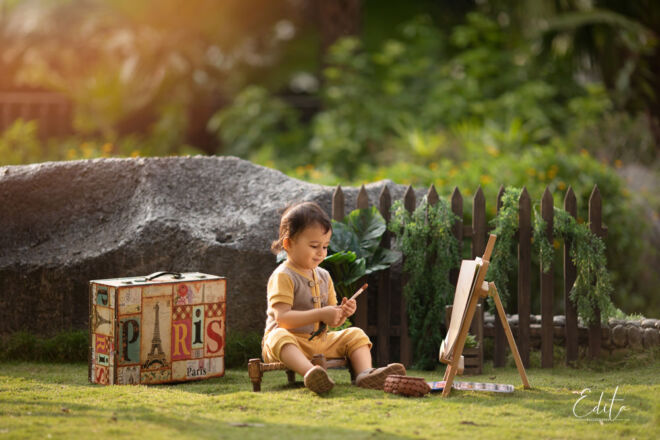 Toddler boy photography painting shoot in the garden Pune